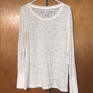 Maurice's white tribal pattern burnout long sleeve